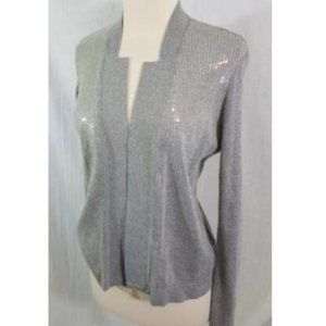 Cache Gray Silver Sequined Cardigan Sweater S